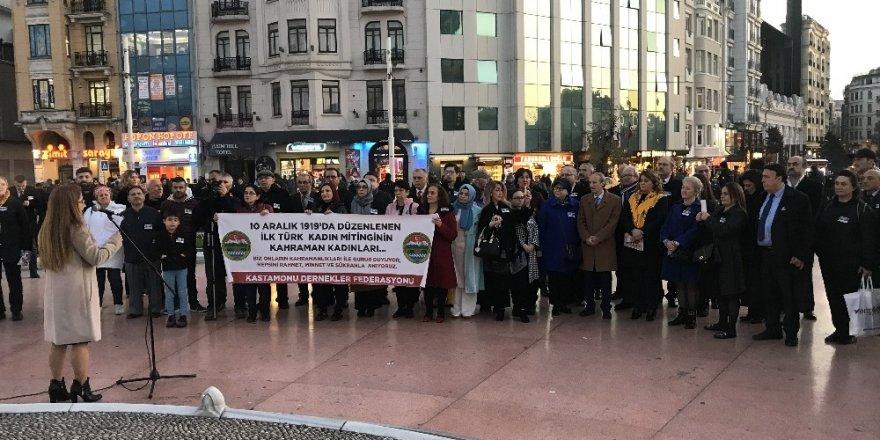 Türk Tarihinin İlk Kadın Mitinginin Yüzüncü Yılı Taksim'de Kutlandı
