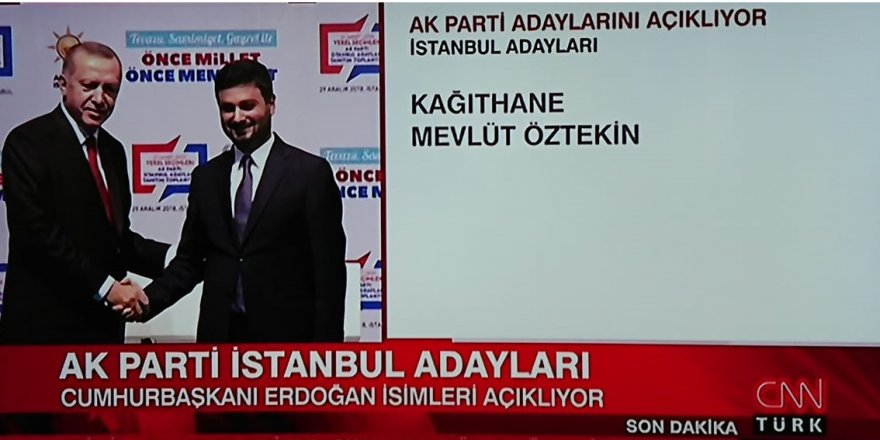 Mevlüt Öztekin, Ak Parti Kâğıthane belediye başkan adayı oldu