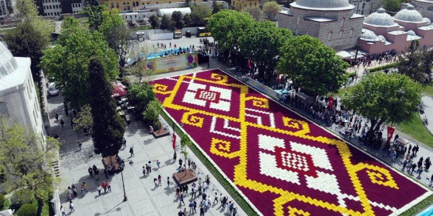 İstanbul'un göbeğinde dünyanın en büyük lale halısı