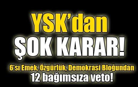 YSK şoku: 12 bağımsıza veto