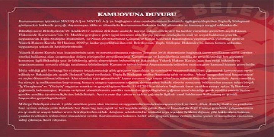 Maltepe Belediyesi'nden TİS açıklaması
