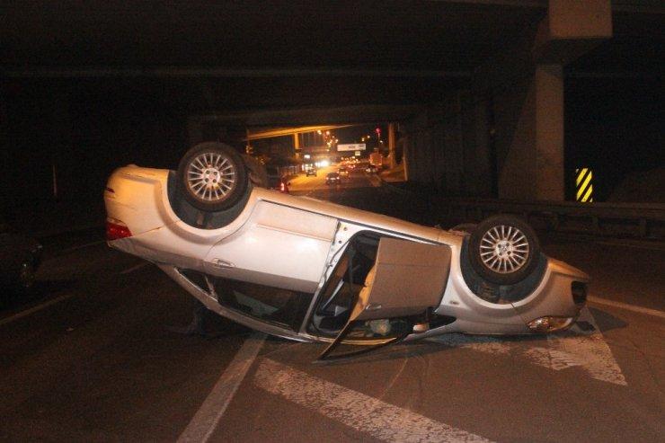 Alkollü sürücünün makas atma sevdası taklayla son buldu: 1 yaralı