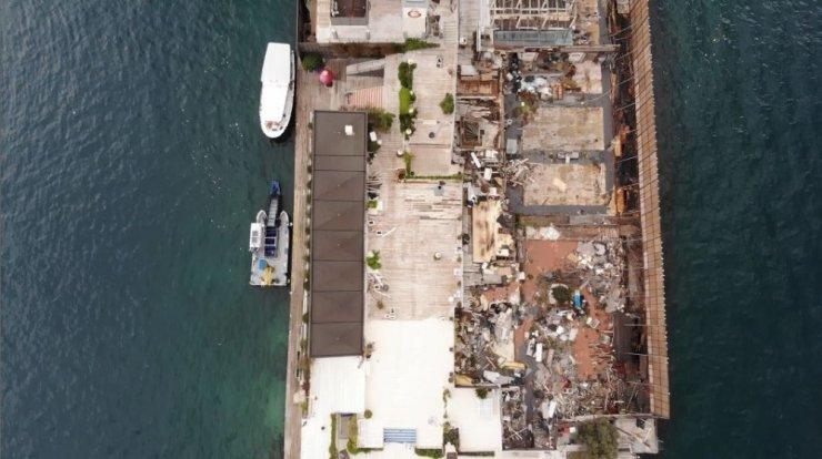 Dursun Özbek'in haciz işlemi başlattığı Galatasaray Adası havadan görüntülendi