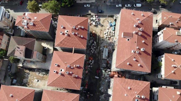 Kartal'da yıkılan binaların yerine dikilen binalarda gelinen son durum havadan görüntülendi