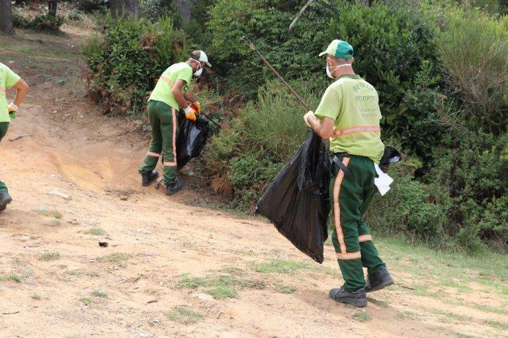 Beykoz'da zabıtadan piknikçilere megafonla 'çöp atmayın' uyarısı